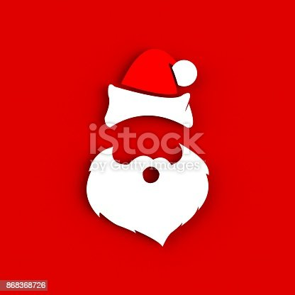 871072052 istock photo Santa Claus hat and beard on red background. Hipster style. 3D rendering 868368726