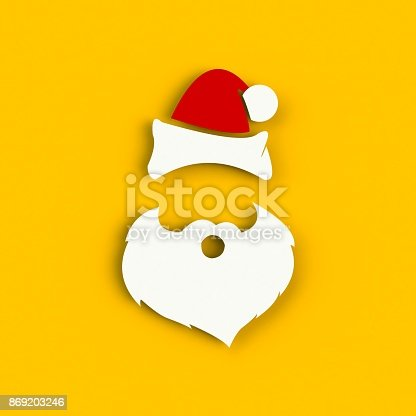 871072052 istock photo Santa Claus hat and beard on yellow background. Hipster style. 3D rendering 869203246