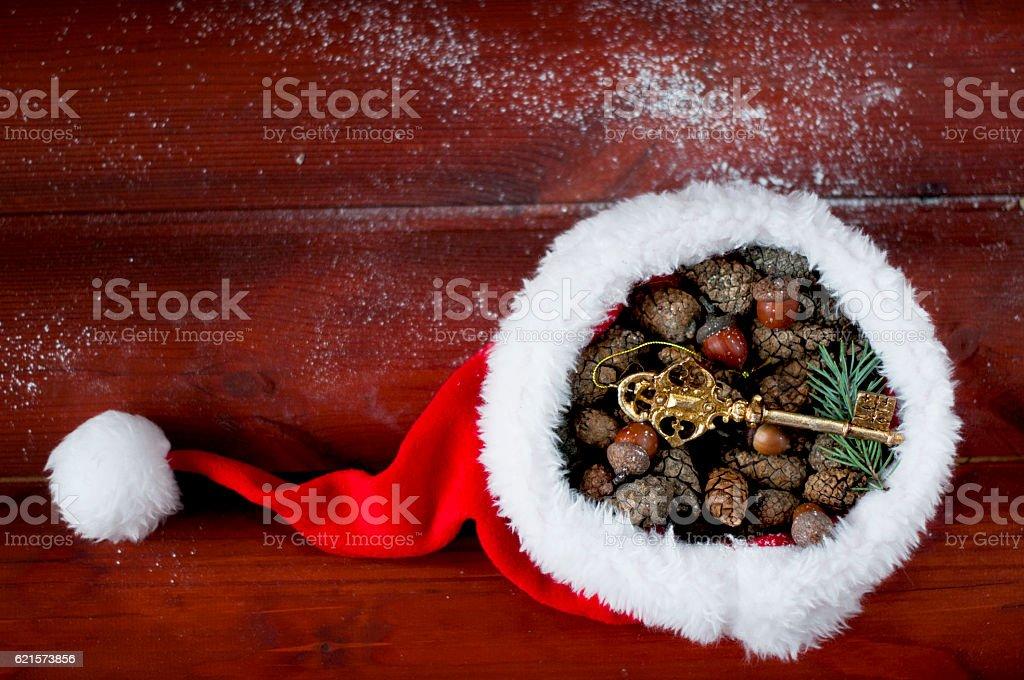 Santa Claus hat filled with pine cones and acorns photo libre de droits