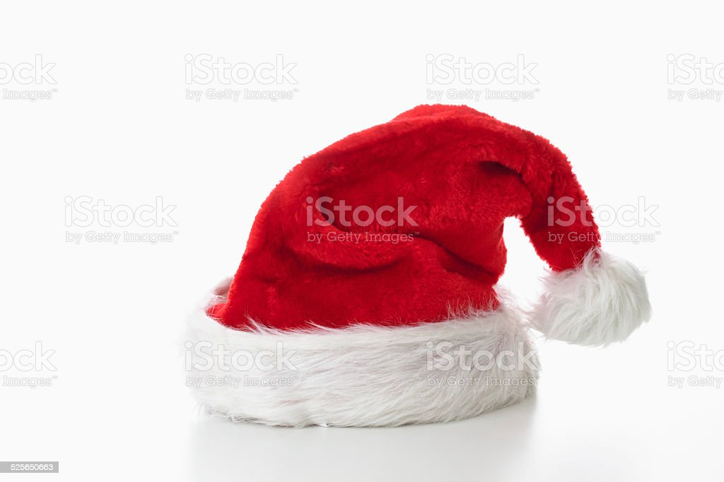 Santa Claus hat on white background stock photo