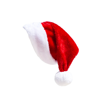 Santa Claus Hat On White Stock Photo - Download Image Now