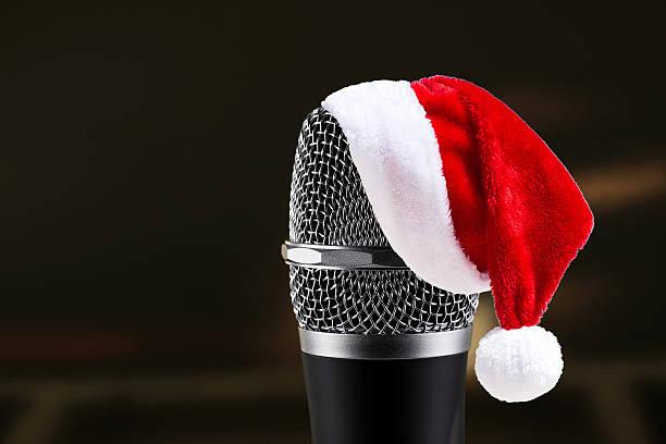 Santa Claus Hat on wireless microphone stock photo