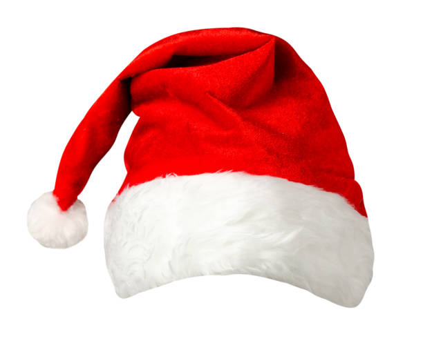 santa claus hat santa claus cap isolated on white background. santa claus red hat. hat with pompom knit hat stock pictures, royalty-free photos & images