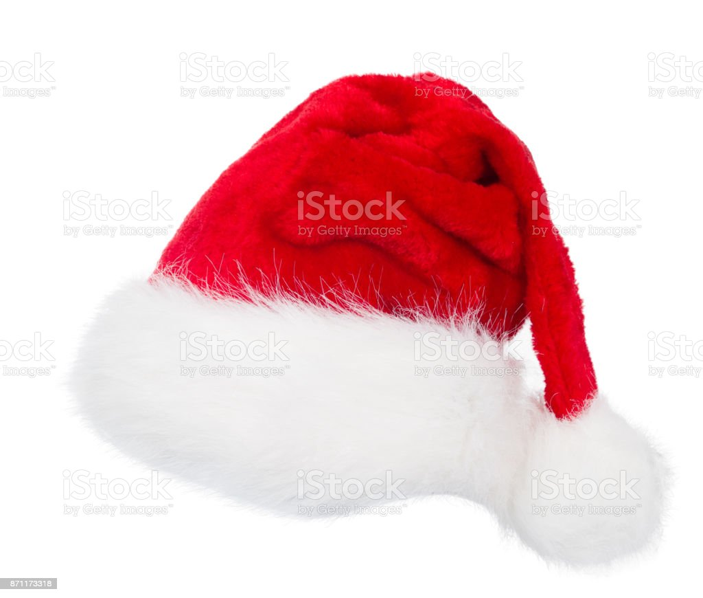 Santa Claus Hat Red Christmas Hat White Isolated - Fotografie stock ... c69357f7e436