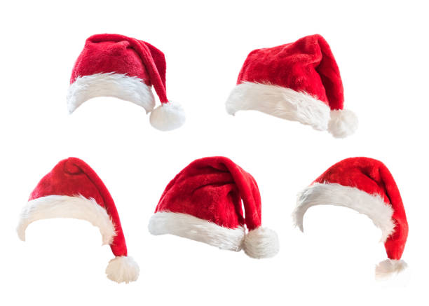 Santa Claus helper red hat costume set isolated on white background with clipping path for Christmas and New Year holiday seasonal festive celebration design decoration Santa Claus helper red hat costume set isolated on white background with clipping path for Christmas and New Year holiday seasonal festive celebration design decoration religious saint stock pictures, royalty-free photos & images