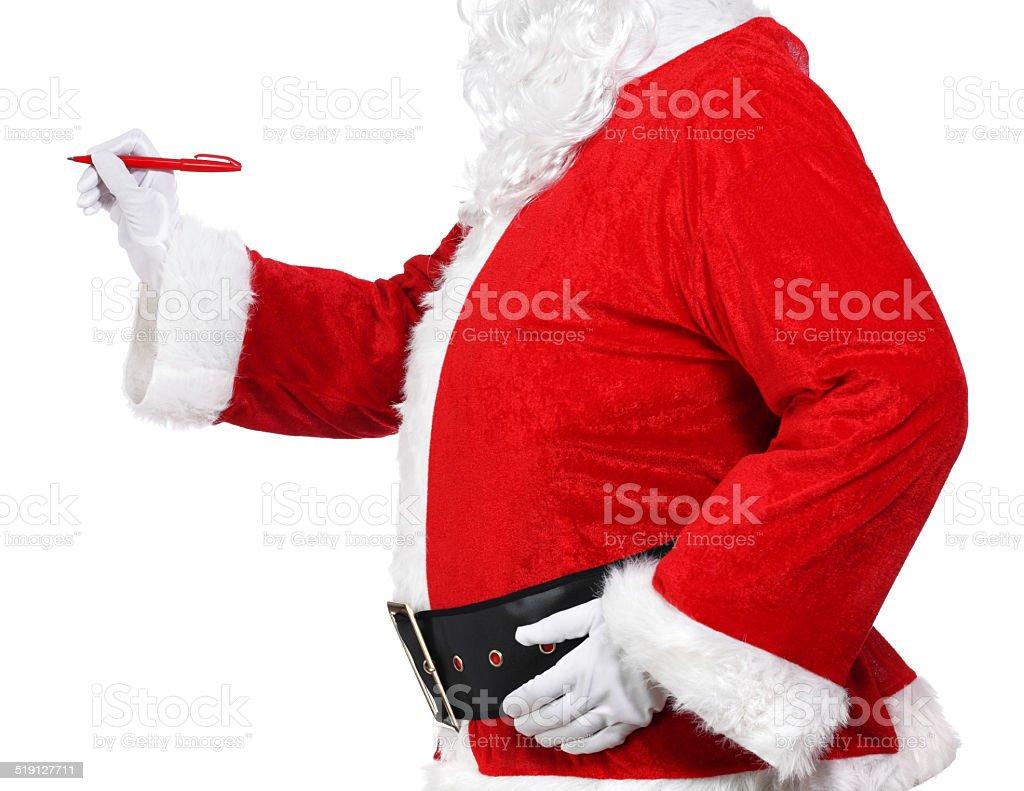 Santa Claus holding a pen stock photo