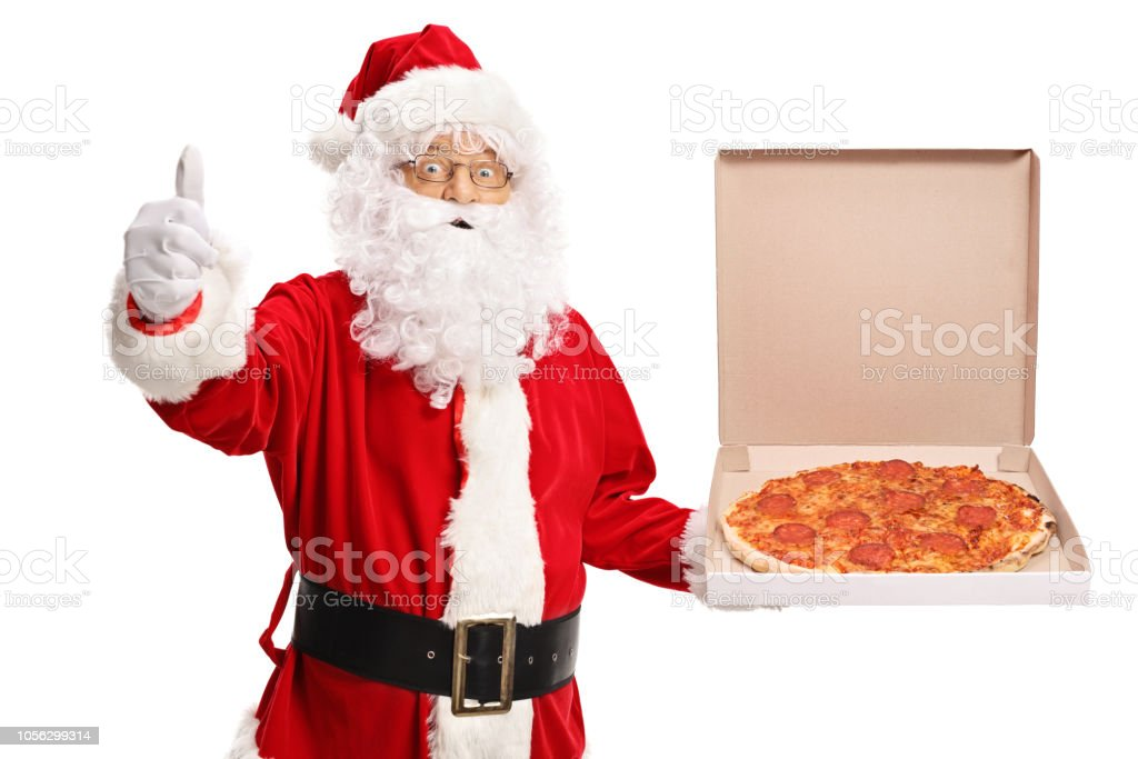 Santa Claus holding a pizza box and making a thumb up sign stock photo
