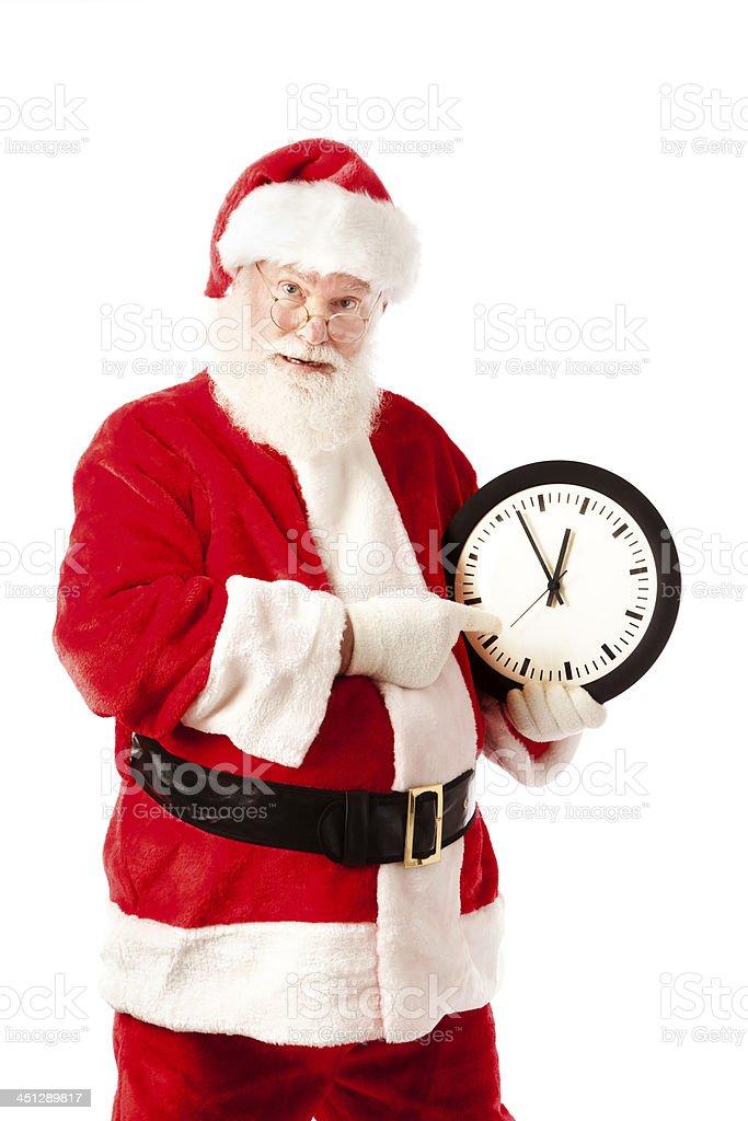 Sfondi Babbo Natale.Babbo Natale Con Clock Per Lo Shopping Natalizio Scadenza Sfondo Bianco Fotografie Stock E Altre Immagini Di Adulto Istock