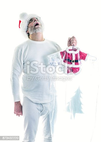 Santa Claus cannot believe this nightmare!! It's Christmas Eve - no time to waste - he needs to get dressed and get moving! But his Santa suit costume has just been returned from the dry cleaning laundry shrunken to an impossibly miniature size. This is a major disaster!