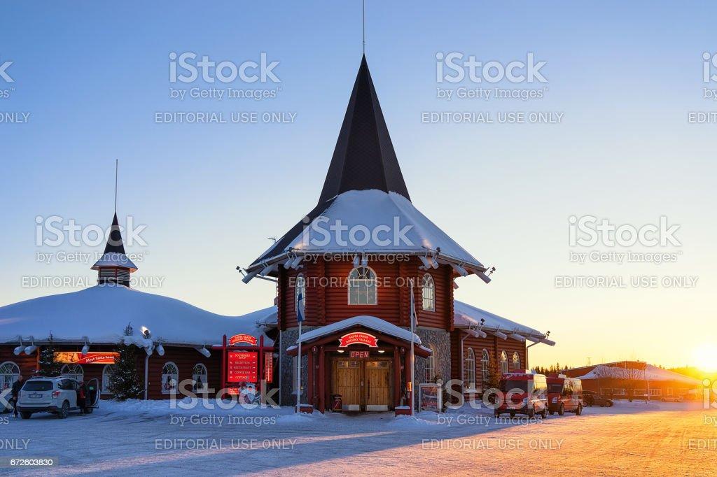 Santa Claus Holiday Village Lapland at sunset stock photo