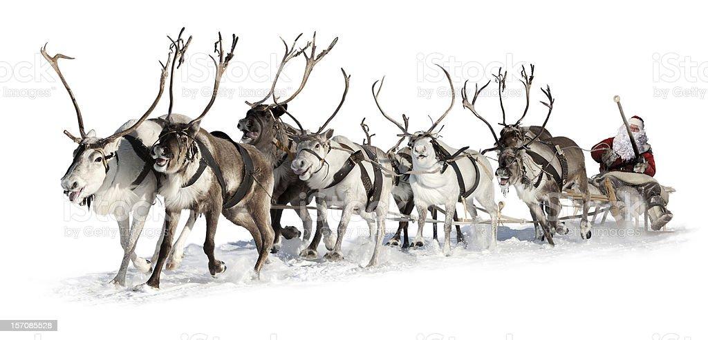 Santa Claus in a sleigh stock photo