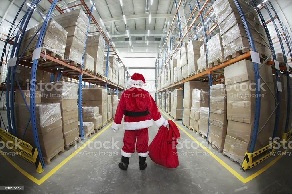 Santa Claus in Gifts Distribution Center stock photo