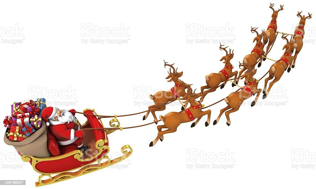 Santa Claus in his sleigh with presents and reindeer stock photo