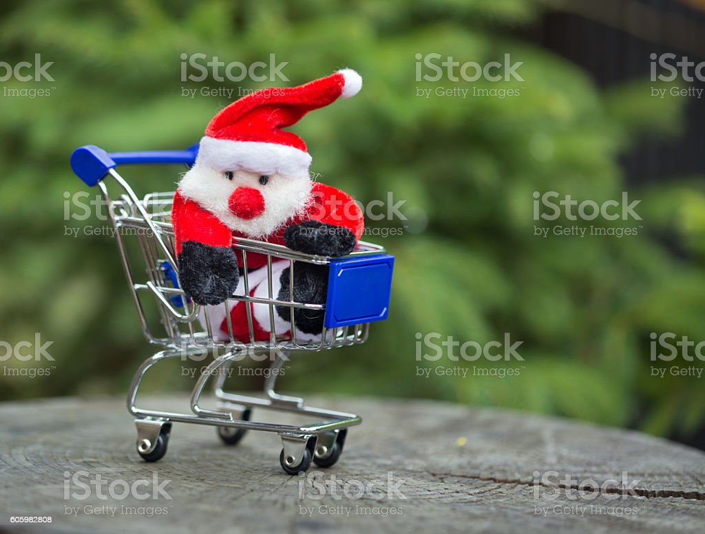 Santa Claus in the cart stock photo