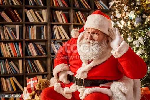 Santa Claus in the library celebration concept