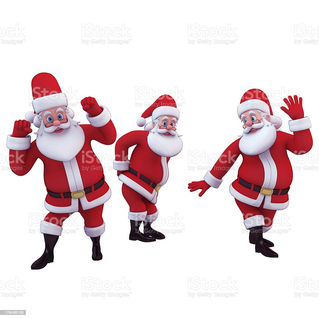 santa claus in various actions stock photo
