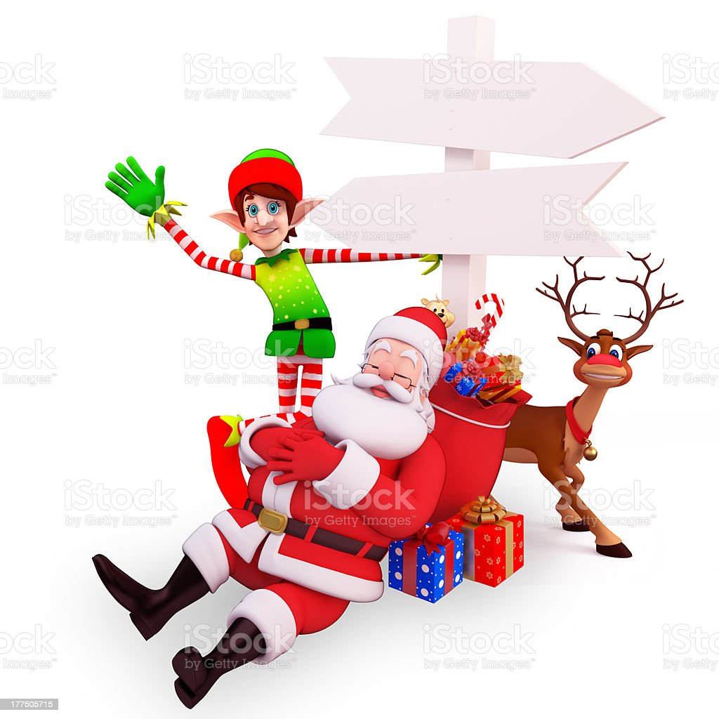 santa claus is sitting near sign with elves stock photo