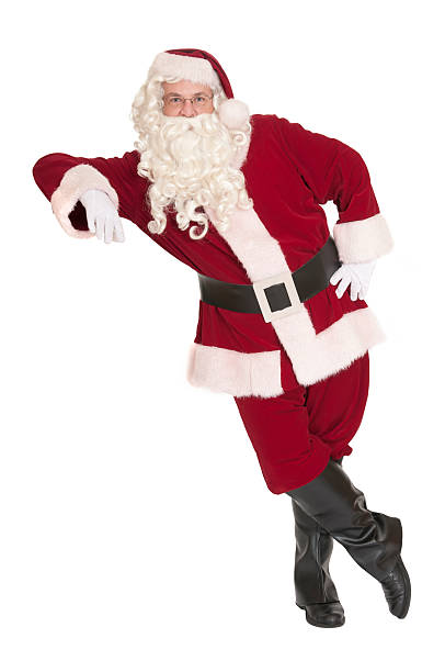 Santa Claus Leaning, With a White Background stock photo