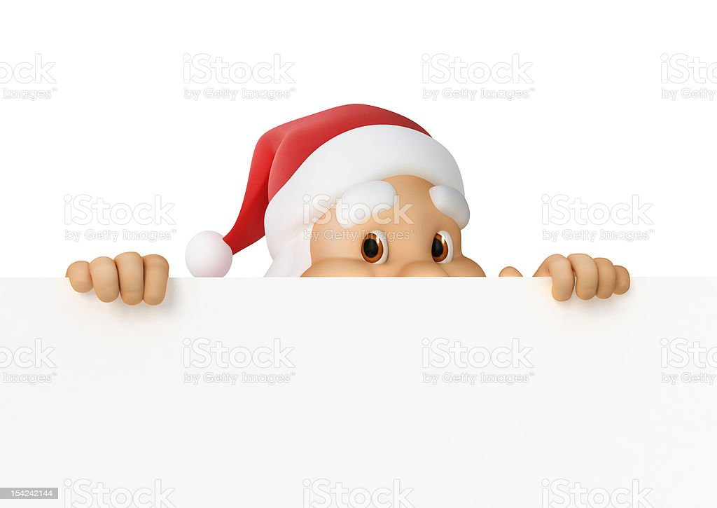 Santa Claus looks out of paper stock photo