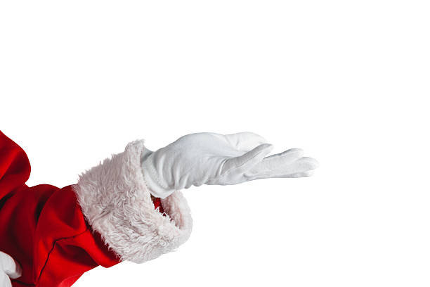 Santa claus making hand gesture against white background stock photo