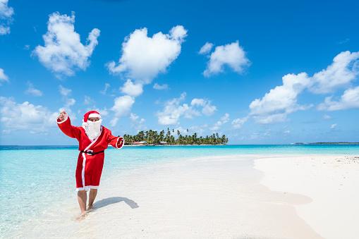 Santa Claus on beach  of Isla de perro Island in Caribbean See, Panama