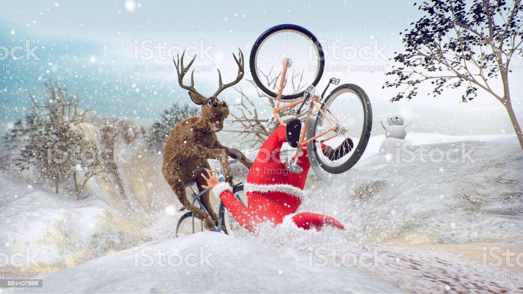 Papai Noel na bicicleta com renas amigo foto de stock royalty-free