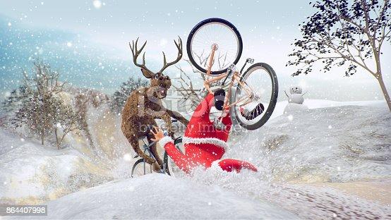 istock Santa Claus on bicycle with friend reindeer 864407998