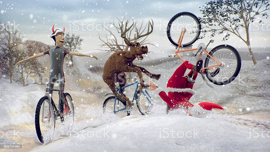 Santa Claus on bicycle with friends reindeer and krampus stock photo