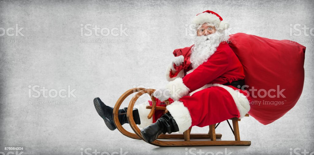 Santa Claus on his sledge - foto stock