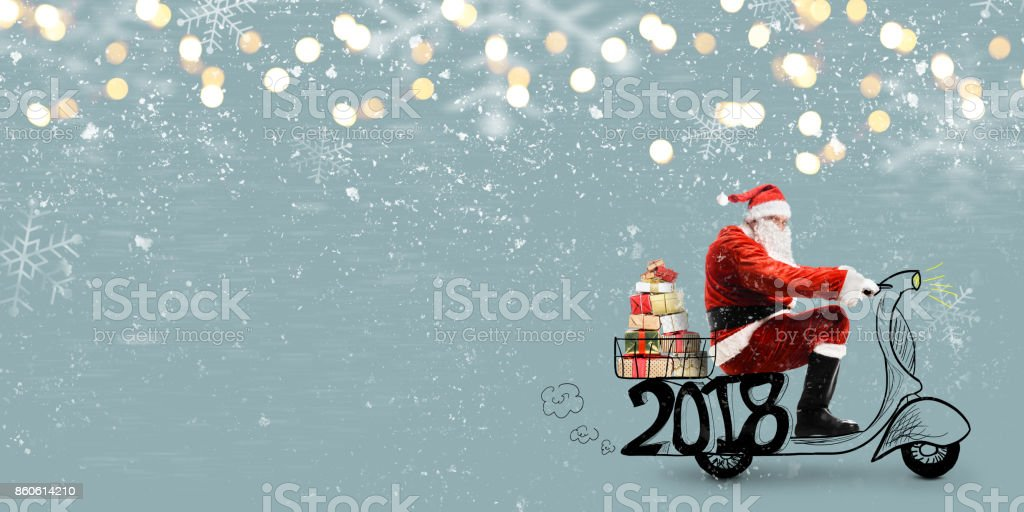 Santa Claus on scooter stock photo