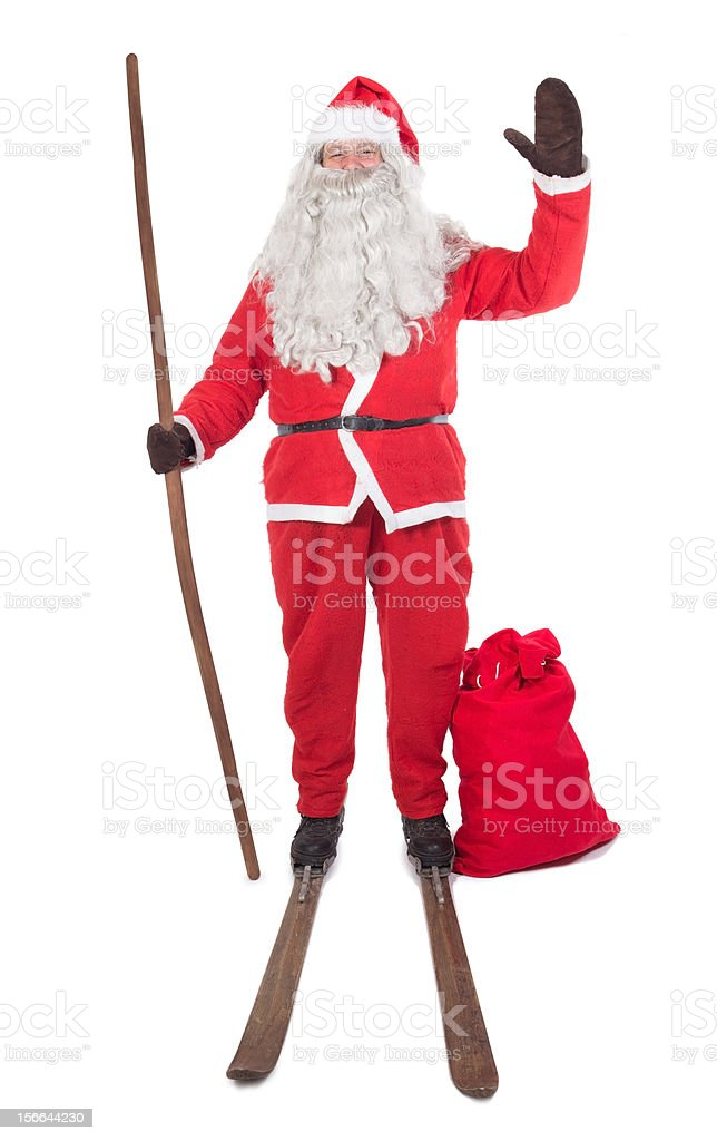 Santa Claus on skis stock photo