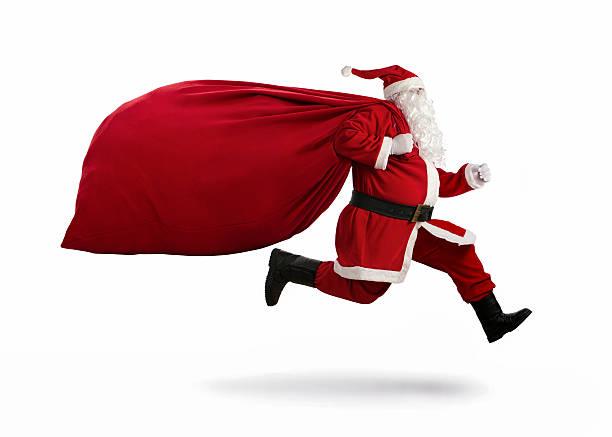 santa claus auf der flucht - santa stock-fotos und bilder