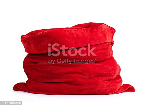 istock Santa Claus open red bag full, isolated on white background. File contains a path to isolation. 1177088568