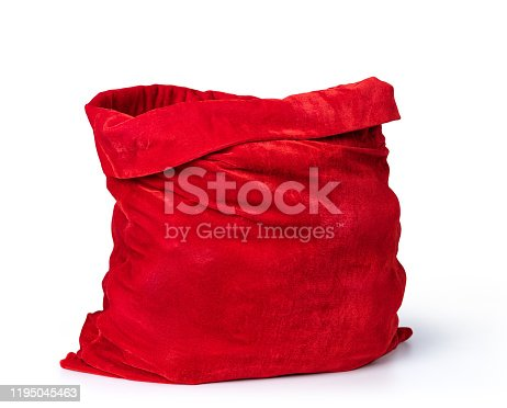 istock Santa Claus open red bag full, isolated on white background. File contains a path to isolation. 1195045463
