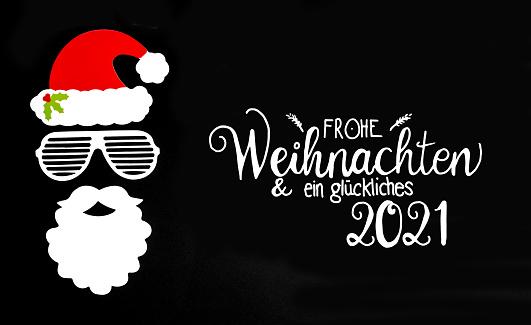 Santa Claus Paper Mask, Black Background, Happy 2021 Means Happy 2021