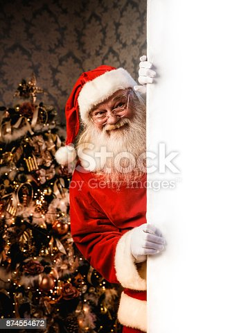 1069359694 istock photo Santa Claus pointing on blank banner 874554672