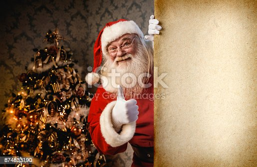 istock Santa Claus pointing on blank banner 874833190