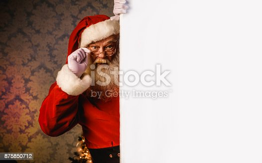 istock Santa Claus pointing on blank banner 875850712