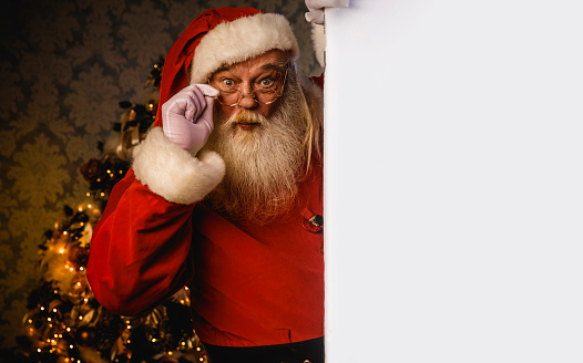 istock Santa Claus pointing on blank banner 884944640