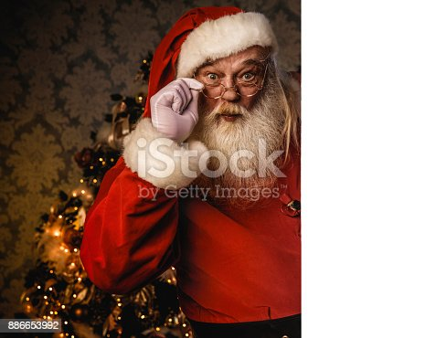 istock Santa Claus pointing on blank banner 886653992