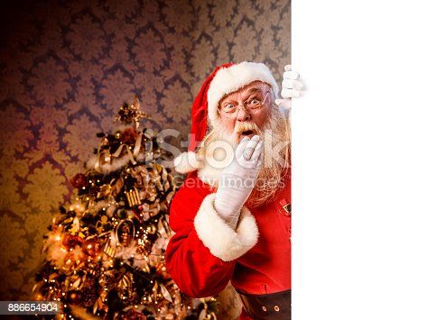 1069359694 istock photo Santa Claus pointing on blank banner 886654904