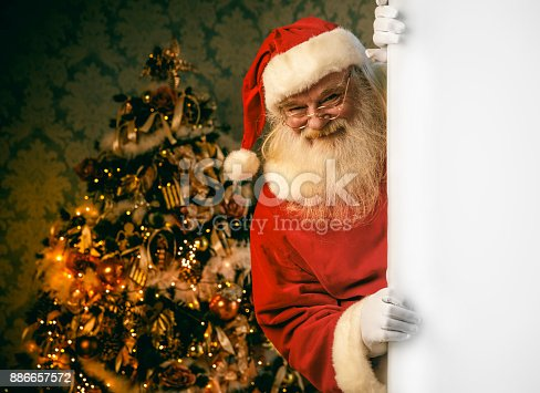 istock Santa Claus pointing on blank banner 886657572