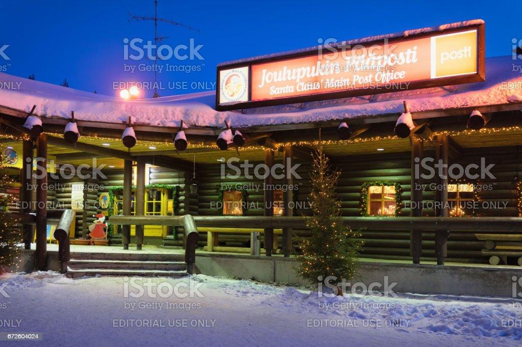 Santa Claus Post Office in Santa Village at night stock photo