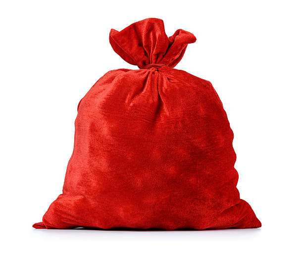santa claus red bag full, on white background. - sack stock pictures, royalty-free photos & images