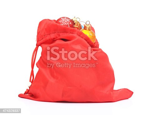 istock Santa Claus red bag with Christmas toys on white background. 474329337