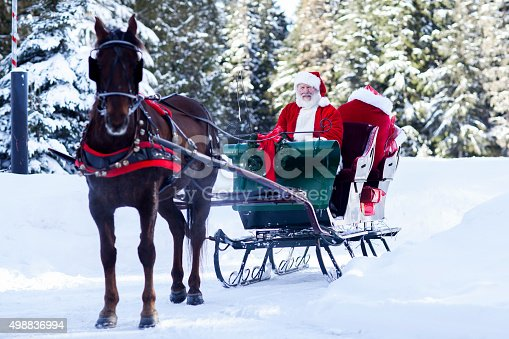 Santa Claus at the North Pole sitting in his sleigh. Copy space.