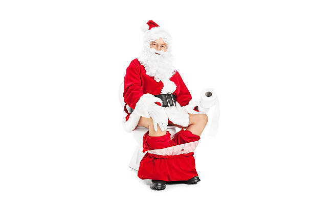 santa claus sitting on a toilet - naked santa claus stock pictures, royalty-free photos & images