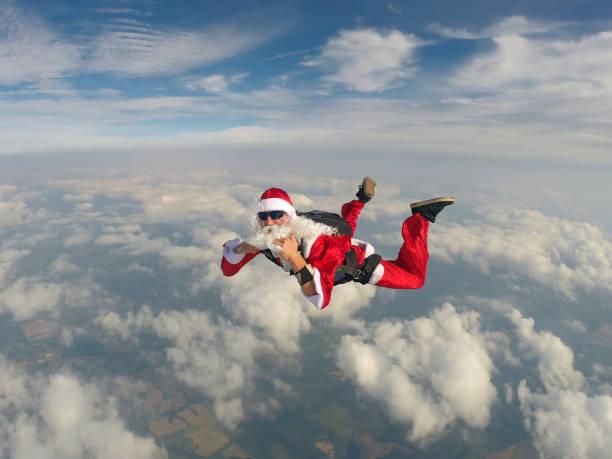 Santa Claus Skydiver stock photo
