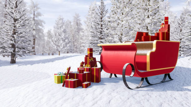 Santa claus sleigh among snowy winter forest Santa claus sleigh full of christmas gifts among snow covered fir tree forest at sunny winter day. Fantasy 3D illustration for Xmas or New Year holidays from my own 3D rendering file. sled stock pictures, royalty-free photos & images