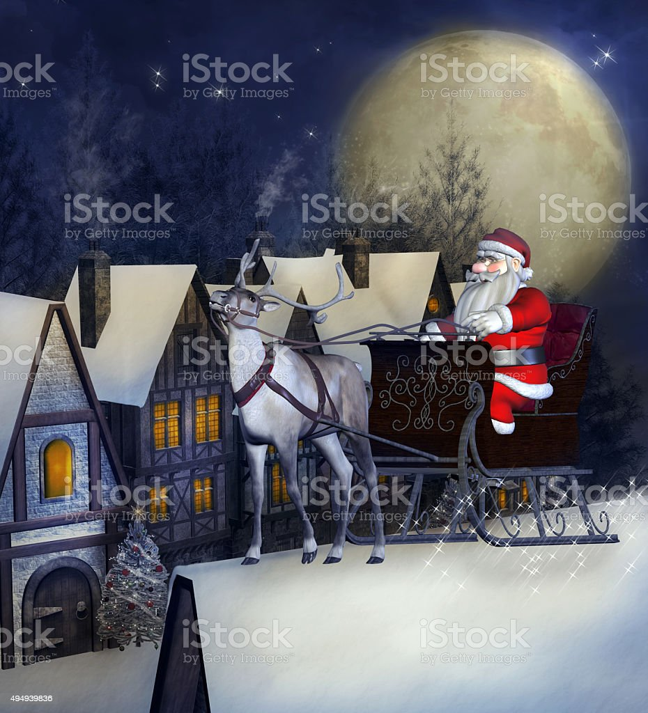 Santa Claus sleight over a roof in a winter night stock photo